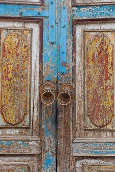 Old doors from a mosque in the center of kashgar.