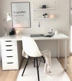 The Most Neglected Fact About White Office Decor Exposed -, the most born fact . - The Most Neglected Fact About White Office Decor Exposed -, the most overlooked fact about exposed - Cute Bedroom Ideas, Cute Room Decor, Room Ideas Bedroom, Ikea Bedroom Design, Teen Bedroom Furniture, Den Decor, Furniture Dolly, Home Office Space, Home Office Design