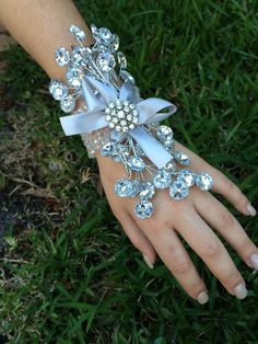 silver wrist corsage for mother of the by TheCrystalFlower on Etsy, $34.00