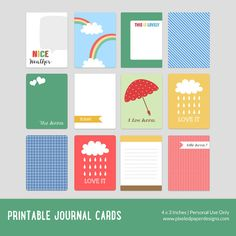 Free Printable Journal Cards from Pixeled Paper Designs