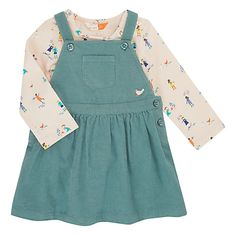 Buy John Lewis Baby Bird Pinafore and People Print Top, Green from our Baby & Toddler Tops range at John Lewis & Partners. Toddler Outfits, Kids Outfits, John Lewis Baby, Little Baby Girl, Unisex Baby Clothes, Stylish Kids, Simple Dresses, Capsule Wardrobe, Kids Fashion