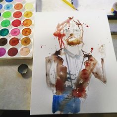 Working on a portrait of Karl ove knausgaard really loving the... Art watercolor acrylic doodle art painting artistsoftumblr watercolor