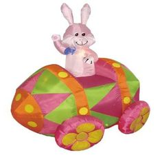 Easter Inflatable Rabbit Riding Egg Car
