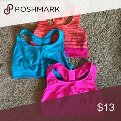 Champion Sports Bras, Set of 3 Orange and Magenta, Solid Teal, Hot Pink. No padding. Excellent condition. Champion Intimates & Sleepwear Bras