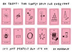 "OK Tarot—a perfectly pink set of tarot cards with all 78 major and minor arcana ""as understood and interpreted by artist Adam J. Stampin Up Karten, Save The Date Karten, Tarot Card Decks, Diy Tarot Cards, Tarot Learning, Tarot Spreads, Oracle Cards, Grafik Design, Deck Of Cards"