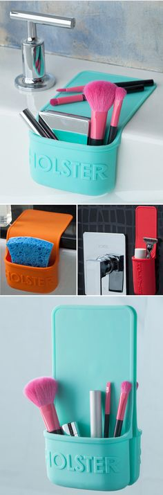 This self-clinging holster's heat-resistant construction gives you safe storage where it's needed. So many great uses in the kitchen and bathroom! I need this asap Gadgets And Gizmos, Cool Gadgets, Great Inventions, Small Space Living, Living Spaces, Safe Storage, Ideas Geniales, Storage Organization, Storage Ideas