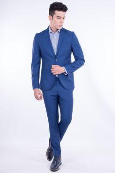 Slim Fit Virgin Wool Suit In Blue