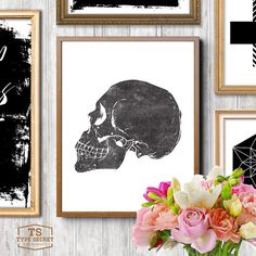 """INSTANT DOWNLOAD: Skull print with vintage letterpress style print effect  NO PHYSICAL PRINT INCLUDED  ★ 300DPI JPG FILES INCLUDED WITH PURCHASE ★ 1) 5""""x7"""" // 12x17cm 2) 8""""x10"""" // 20x25cm 3) 24""""x30"""" // 60x76cm  Our printable art typography home decor downloads include a very high quality JPG sizeable up to 24"""" x 30"""" (60x76 cm) at full 300dpi resolution allowing you to flexibly print and produce our inspiring designs for yourself or as gifts for your loved ones to your exact requirements…"""
