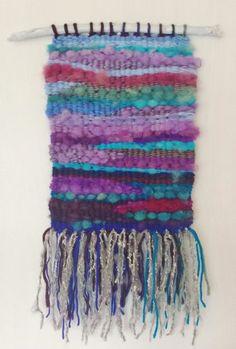 Hand Woven Wool Tapestry Blue Purple 8x15 by AvelineDanielArt