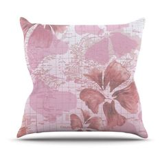 Kess InHouse Catherine Holcombe Flower Power Map Outdoor Throw Pillow, Pink