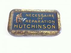 Ancienne boîte publicitaire tôle lithographiée Nécessaire réparation Hutchinson