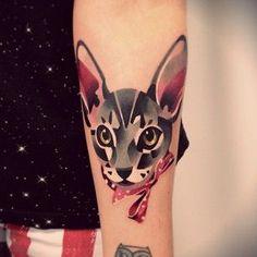 A fancy feline: | The 26 Coolest Animal Tattoos From Russian Artist Sasha Unisex
