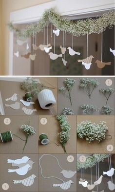 Bird Flower Garland - Step-by-Step Tutorial you can easily DIY for your wedding reception's decoration. #diyweddingtutorial #weddingdiydecoration #weddingdecor
