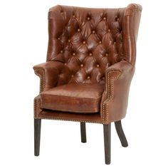 Hughes Club Chair Antique Chestnut Leather