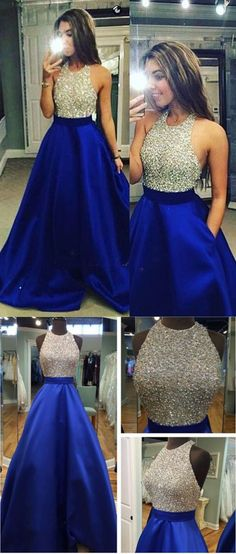 Gorgeous A Line Royal Blue Beading Bodice Prom Dress Crew Neckline Evening Dress Backless