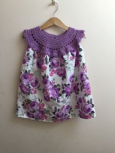 Items similar to Lila-Rose Clothing intrecate croched lavender yoke with cotton rose print fabric, girls summer dress, girls crochet dresd on Etsy