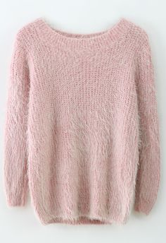 Basic Fluffy #Sweater in #Pink / #chicwish