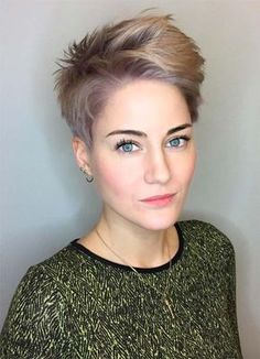 Short Hairstyles for Women with Thin/ Fine Hair: Mauve and Blonde Volumized Pixie