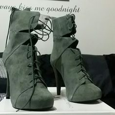 """Charlotte Ronson """"Irina"""" Lace Green Ankle Boot Suede. Never worn Charlotte Ronson Shoes Lace Up Boots"""