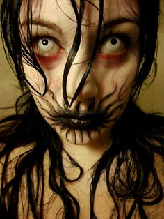 "Creepy makeup idea called ""The Infection"" / Paired with all-white zombie contact lenses => http://www.pinterest.com/pin/350717889705763104/"