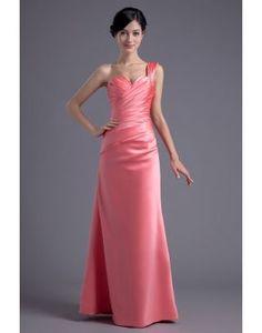 Elegante A-Line Una spalla Abito Da Sera Rosa