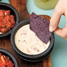 Spicy Queso Dip    We love the spiciness of this queso dip, but more a milder dip, prepare with regular pasteurized cheese product.    http://www.myrecipes.com/recipe/mole-barbecue-sauce-50400000112167/