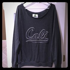 ❣Added Today❣Cut Neck Crew Sweatshirt Dark gray sweatshirt with a raw cut neckline, see pic3.  Cali logo, see pic2.  Worn only once. Tops Sweatshirts & Hoodies