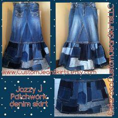 DELAROSA Jazzy J Patchwork maxi denim skirt Custom Order to Your Size 0-2-4-6-8-10-12-14-16-18-20-22 Hippie Skirts, Dark Jeans, Blue Jeans, Jean Crafts, Patch Design, Patchwork, Recycled Denim, Denim Skirt, Summer Dresses