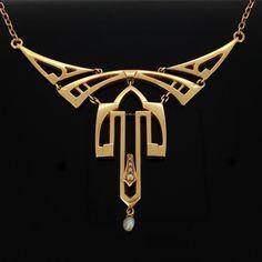 STUNNING Art Nouveau 14kt gold necklace, c.1905