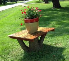 Make a table top for a tree stump you can't get rid of