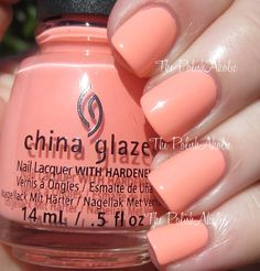 China Glaze Spring 2015 Road Trip Collection: More To Explore - peach creme. The formula was a bit on the thick side and streaky on the first coat, but did level itself nicely though. Glam Nails, Nail Manicure, Cute Nails, Pretty Nails, Nail Polishes, Mani Pedi, Manicures, Best Nail Polish, Nail Polish Colors