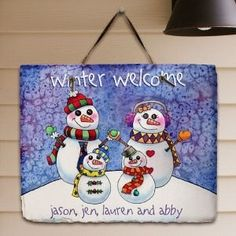 snowman painted on slate boards | Personalized Christmas Snowman Welcome Slate Plaque | canvas painting