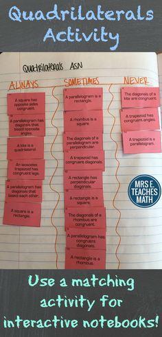 special quadrilaterals interactive page idea - use a card sort for your interactive notebook Gre Math, Math Literacy, Math Teacher, Teaching Math, Teacher Stuff, Teaching Tools, Teaching Resources, Maths Classroom Displays, Math Classroom