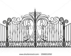 Iron gate isolated on white background - stock photo