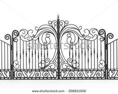 Iron gate isolated on white background - stock photo