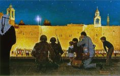 Uneasy Christmas in the Birthplace of Christ (Christmas Eve in Bethlehem), Norman Rockwell.Story illustration for Look, December 29, 1970   The Basilica of the Nativity, built from 527...