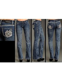 Rock & Roll Cowgirl Mid Rise Bootcut Jeans with Leather & Rhinestone Cross