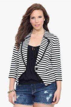 Torrid Plus Size Black White Striped Ponte Blazer