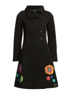 desigual 2014 new 36e2905 sara Embroidery Flowers Pattern Print coats for woman's women coat trench and balck XS S M L XL bag 46-in Wool & B...