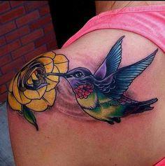 Hummingbird rose ink. Mine.