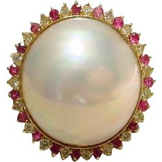 Cultured Mabe Pearl Ring 14KT Yellow Gold -- Rubies and Diamonds Surrounded -- Princess Style