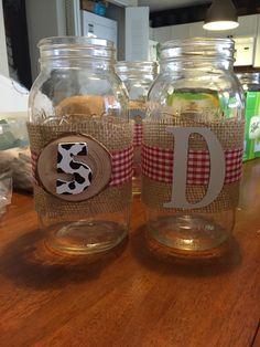 Mason Jar Centerpieces for my nephew's cowboy / ranch /farm theme birthday party.