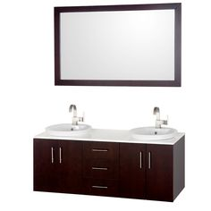 Wyndham Collection WCSB40055ESWH Arrano 55 Inch Espresso with White Glass Top White Porcelain Semi-Recessed Sinks
