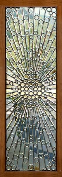 clear stained glass with circles, creating an unusual texture