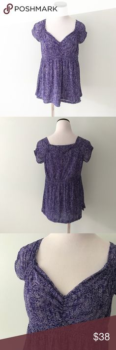 """DKNY Purple print boho peasant Top Purple top with lining. V-neck and gathering around bust. Length 25"""". Chest 18"""". Dkny Tops"""