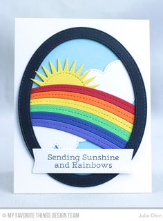 Handmade card from Julie Dinn featuring Rainbow Greetings stamp set, End of The Rainbow, Radiant Sun, Stitched Oval Frames, Blueprints and Oval STAX Set 1 Die-namics Rainbow Card, Rainbow Colors, Card Making Inspiration, Making Ideas, Inspiration Cards, Mft Stamps, Get Well Cards, Card Maker, Rainbows