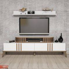 Comoda Tv Eylul cu Raft - Alb White Tv, Tv Unit, Timeless Design, Studio, Living Spaces, Entertaining, Contemporary, Furniture, Home