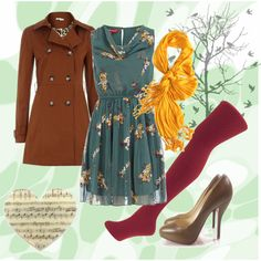 My first published Polyvore creation. Details:  Teal Cowl Neck Dress,  Maroon cable knit tights  Brown Double Breasted Mac  (DorothyPerkins.com);  Christian Louboutin Ronaldo Heels in brown (Fashionphile.com)  Crinkle in Time Scarf in Glow (modcloth.com)