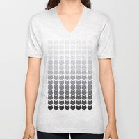 V-neck T-shirt featuring Mono Cats by Megan Hillier
