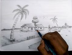 How to draw village scenery Scenery Drawing For Kids, Pencil Shading, Pencil Art, Rick And Morty Poster, Urban People, Pretty Blue Eyes, Quote Backgrounds, Happy Puppy, Light And Shadow